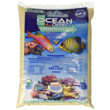 ACS00905 Ocean Direct Natural Live Sand for Aquarium, 5-Pound, 100% aragonite supports proper ph By Carib -