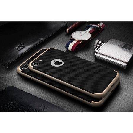 Rich Texture PC TPU Hard Protect Case Back Cover Bumper for iPhone 7 Carbon Fiber Sliver