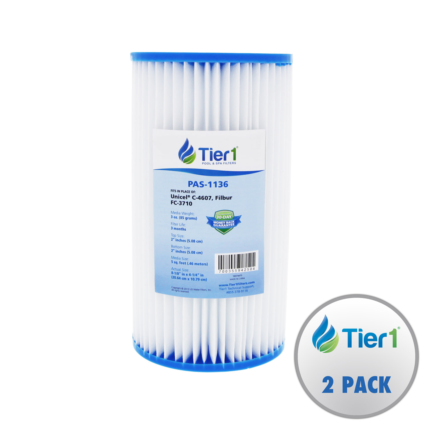 Tier1 Coleco F-120 w/core Comparable Replacement Pool & Spa Filter Cartridge 2 Pack