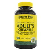 Natures Plus Adults Chewable Multivitamin - 180 Vegetarian Tablets - Pineapple Flavor - Natural Whole Foods Supplement for Overall Health, Energy - Gluten Free - 180 Servings