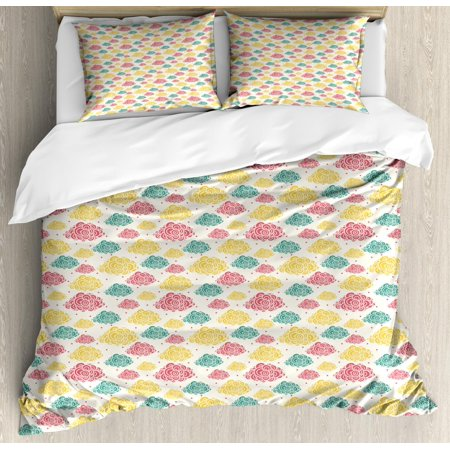 Clouds Duvet Cover Set Queen Size, Abstract Multicolored Cumulus Clouds with Semi Circles and Dots, Decorative 3 Piece Bedding Set with 2 Pillow Shams, Jade Green Yellow Dark Coral, by Ambesonne