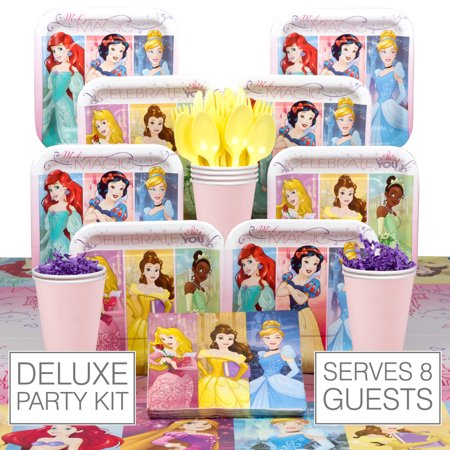 Disney Princess Deluxe Kit (Serves 8) - Party Supplies - Disney Princess Party Decor