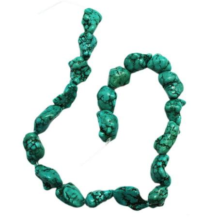 Aqua Blue Turquoise Nugget Bead Strand (15 Inch) (Turquoise Beads)