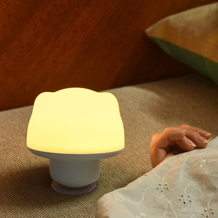 Yellow Colorful Silicone Sucker Lamp Led Night Light Rechargeable Touch Sensor Light Children Cute Adjustable Bedroom Light