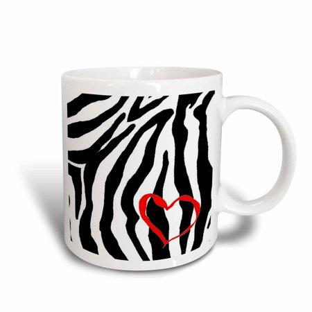 (3dRose Heart Zebra Print, Ceramic Mug, 15-ounce)