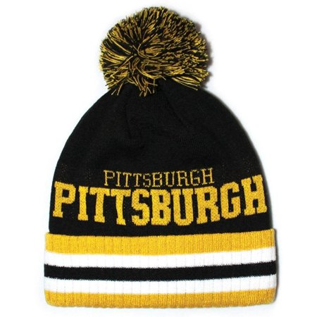 Sk920 Pittsburgh Stripe City Pom Pom Knit Hat (Black/gold ), Made in China By City - Chinese Hats