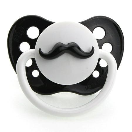 Mini Pacifier - Mini Black Handlebar Mustache on Black Pacifier