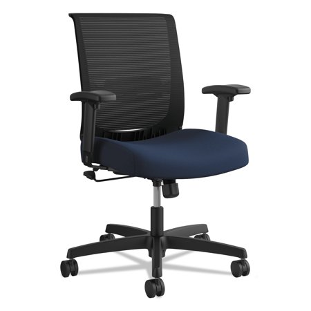 HON Convergence Mid-Back Task Chair with Swivel-Tilt Control, Supports up to 275 lbs, Navy Seat, Black Back, Black Base -HONCMZ1ACU98 Hon Curved Base
