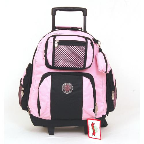 "18"" Wheeled Backpack Roomy Rolling Book Bag W/ Handle Carry on Luggage Back Pack Pink One Size"