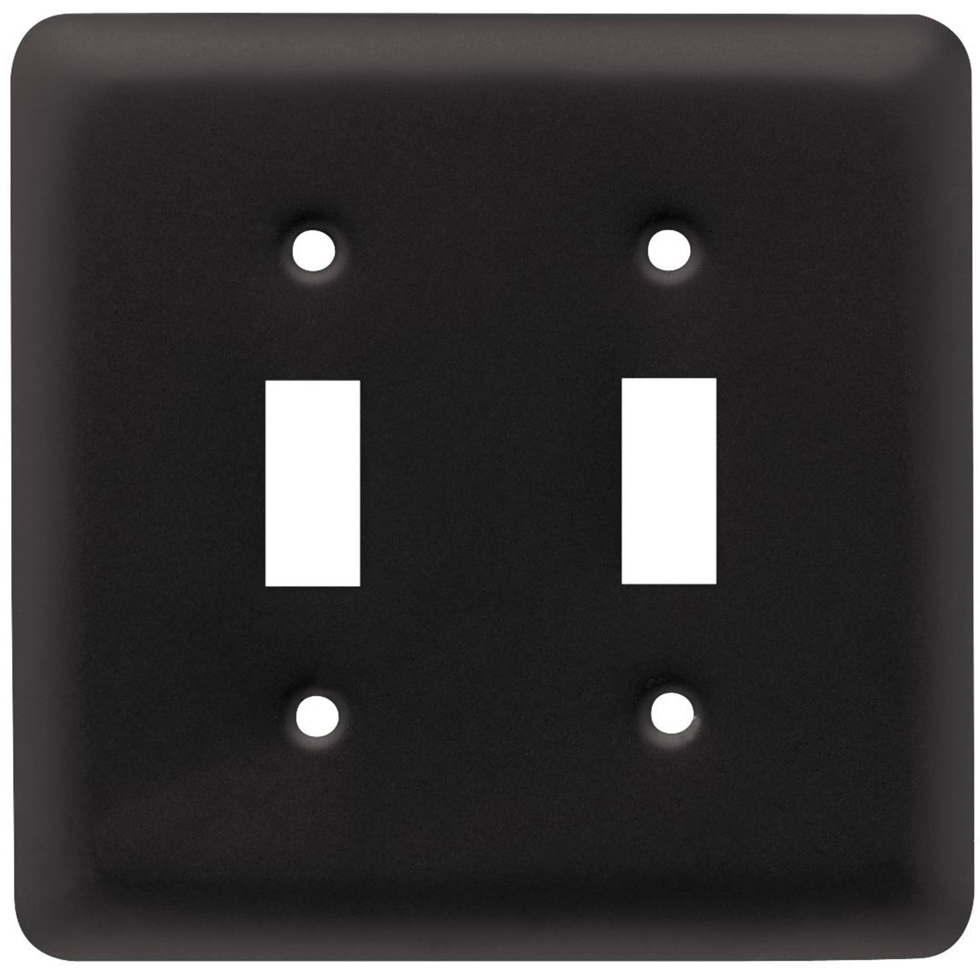 Franklin Brass Stamped Round Double Switch Wall Plate in Flat Black