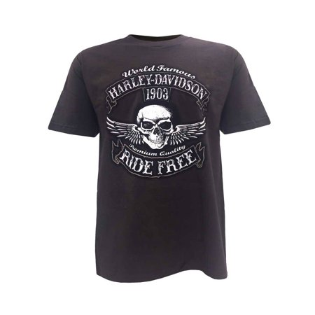 Harley-Davidson Men's Bad Manners Winged Skull Short Sleeve T-Shirt, Dark Brown, Harley Davidson