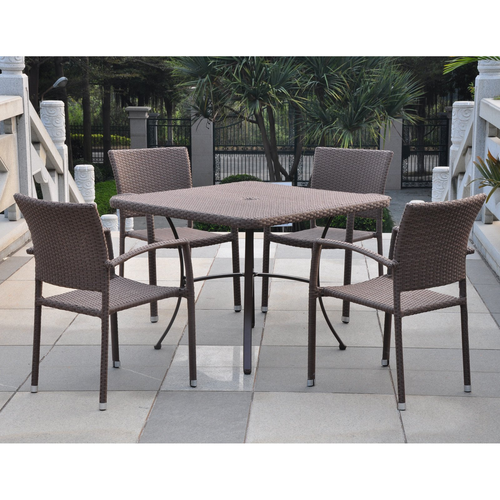 International Caravan Barcelona Contemporary Resin Wicker Patio Chair Set