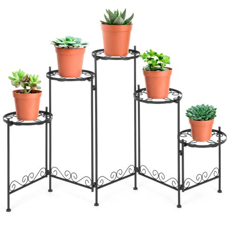 Folding Plate Stand - Best Choice Products 5-Tier Indoor Outdoor Multi-Level Adjustable Folding Metal Plant Stand, Flower Pot Holder Display Shelf, 28 Inches Tall, Black