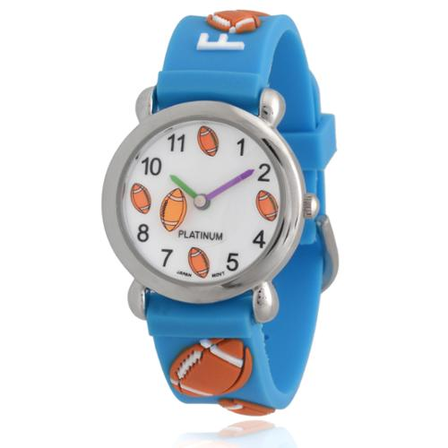 Geneva Platinum Kids' Football Silicone Watch Red