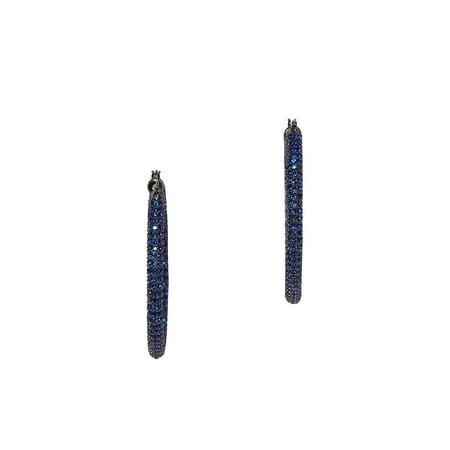 Pavé Sapphire Crystal Tubular Drop Earrings (Ursa Sapphire Crystal)