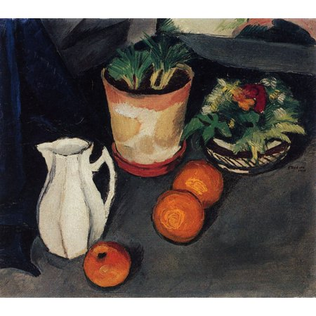 Framed Art for Your Wall Macke, August - Still life with milk jug and flowers 10 x 13 Frame ()