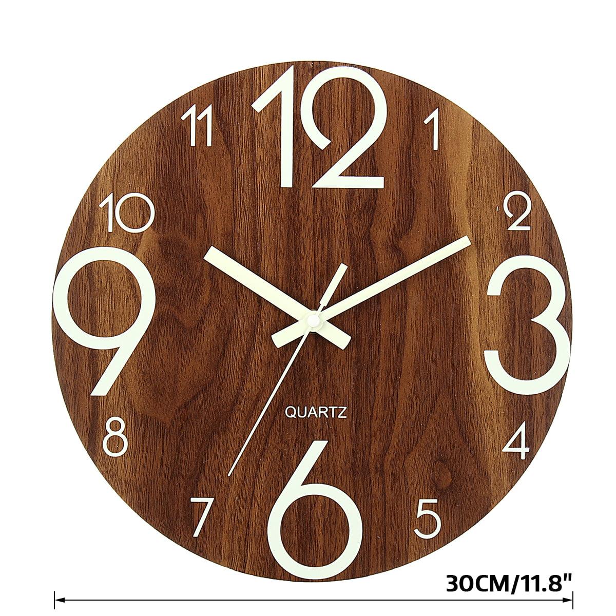 12 Inches Luminous Wall Clock Silent Night Lights LED Glowing Decorative Clocks