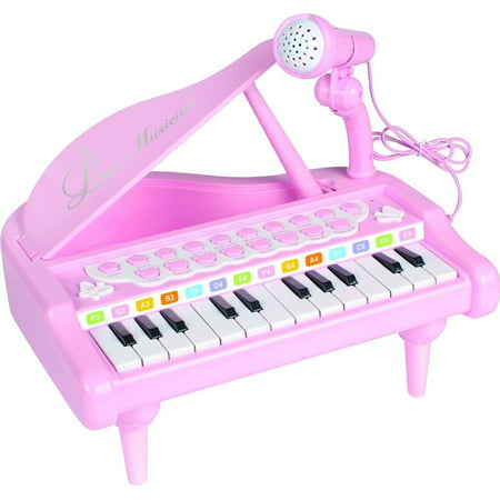 Elegantoss Kids 24 Keys Multi functional Musical Mini Piano with colorful lights MP3 Record Play function and Microphone (Best Piano Microphone For Live Sound)