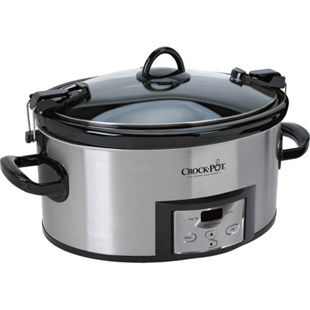 Crock-Pot 6 Quart Programmable Cook & Carry Slow Cooker with Digital Timer, Stainless (Crock Pot 7 Quart Programmable Cook And Carry)