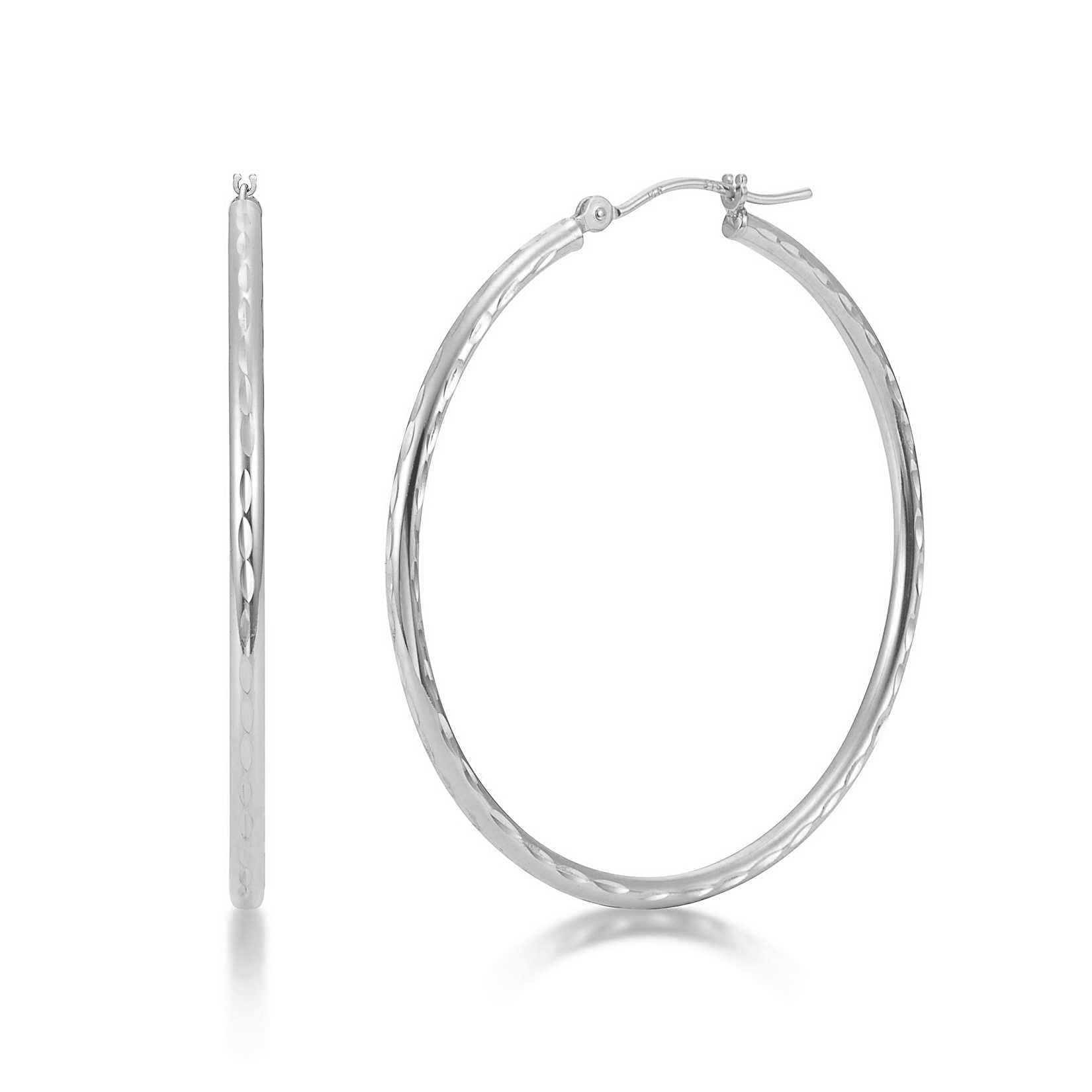 Earring Chest Sterling Silver Round Tube Earrings 2mm Wide 20mm Diameter
