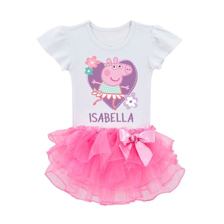 Personalized Peppa Pig Toddler Girls' Ballerina Tutu T-Shirt - 2T, 3T, 4T, 5/6T for $<!---->