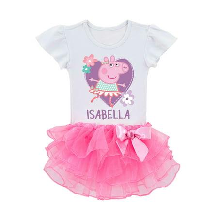 Personalized Peppa Pig Toddler Girls' Ballerina Tutu T-Shirt - 2T, 3T, 4T, 5/6T
