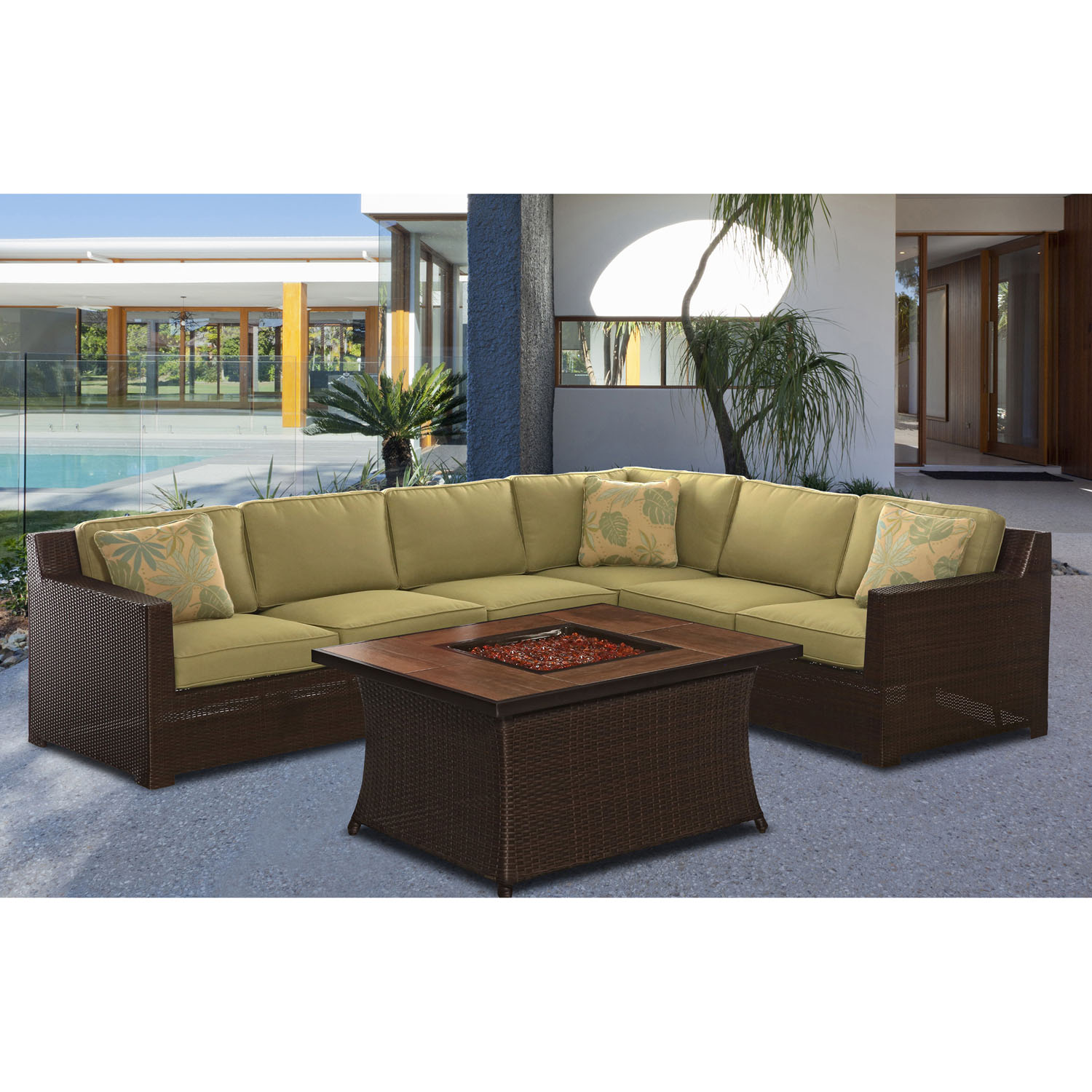 Hanover Metropolitan Woven Fire Pit Lounge Set with Glazed Faux-Wood Tile Top