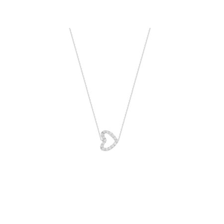 Cubic Mini - Mini Heart Necklace Rhodium on Sterling Silver Cubic Zirconia East 2 West