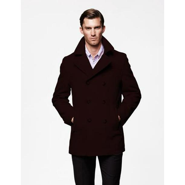 Suit Usa Mens Peacoat Wool Fabric, Mens Chocolate Brown Pea Coat