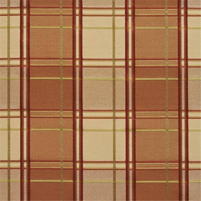 Designer Fabrics U0200B 54 in. Wide Peach, Green And Wine Multi Color Plaid Silk Satin Upholstery Fabric