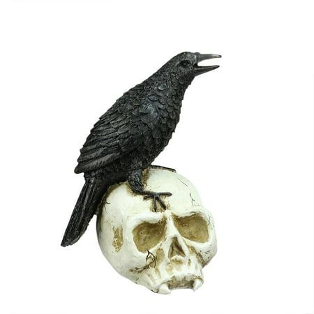 9 75   Spooky Black Crow On Skull Halloween Decoration