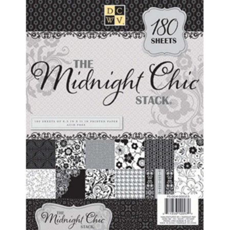 DCWV The Midnight Chic Stack Printed Cardstock Paper Set - 8.5 in x 11 in - 180 Sheets