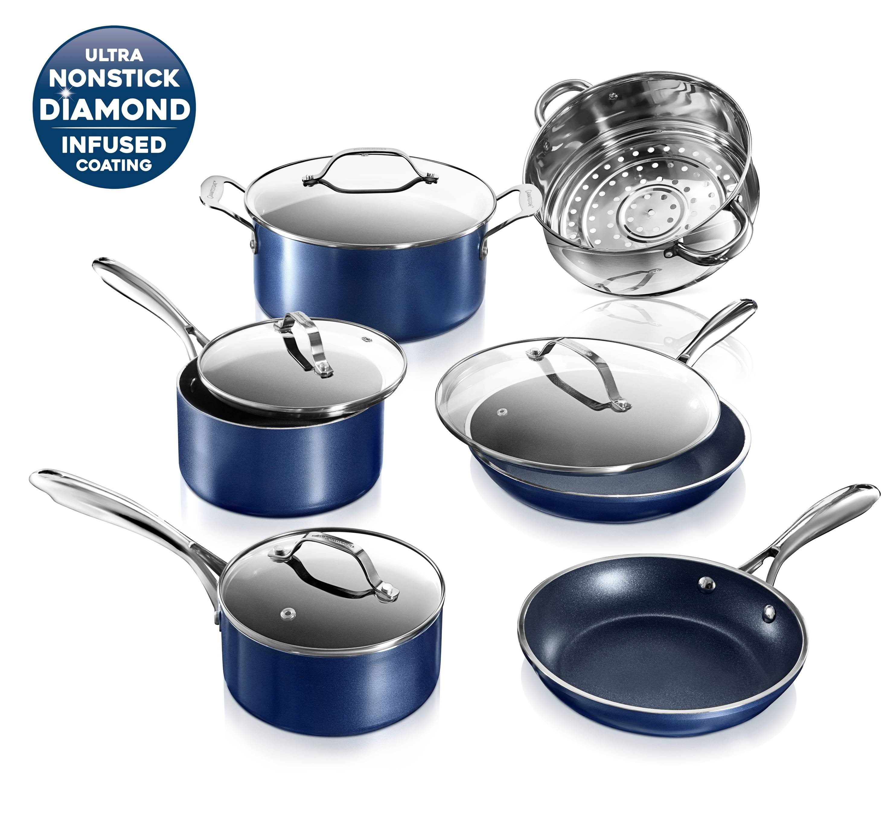 Granitestone Pots and Pans Set Blue 10 Piece Cookware Set with Ultra Nonstick Durable Mineral & Diamond Triple Coated Surface, Stainless Steel Stay Cool Handles, Oven & Dishwasher Safe, As Seen on TV