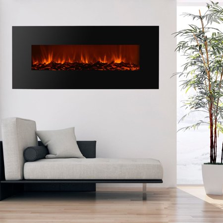 "Buy Ktaxon Electric Fireplace Black 50"" Wall Mount Heater flame W/ Adjustable Heating New at Walmart.com"