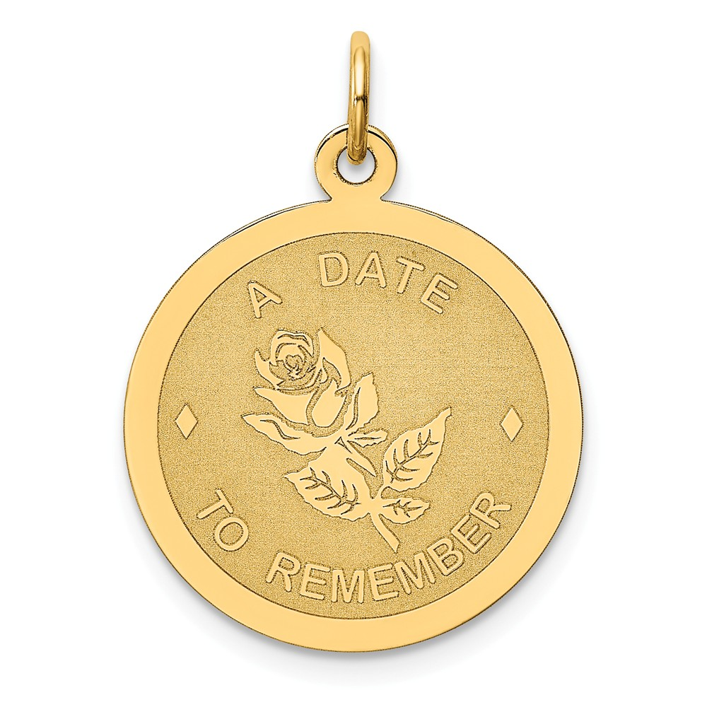 Solid 14k Yellow Gold A Date to Remember Pendant Charm (20mm x 25mm)