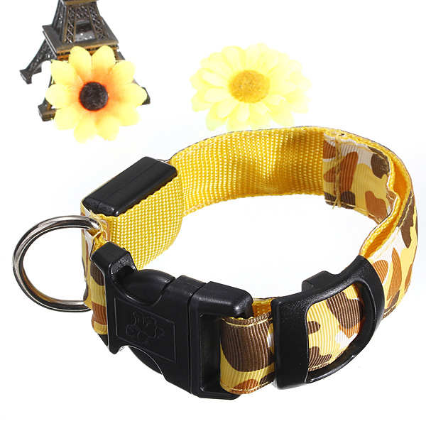 M Pet Safety Collar Adjustable Pet Dog LED Collar Nylon Safety Light-up Flashing Glow Collar