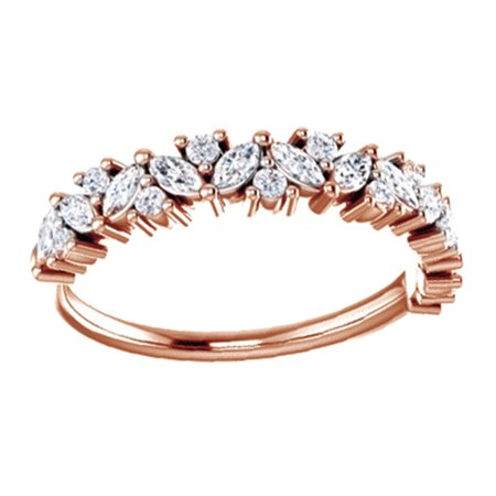 Marquise Cut White Natural Diamond Engagement Wedding Ring In 14K Solid Rose Gold (0.5 Ct), Size-4 1/2 Ct Marquise Cut Ring