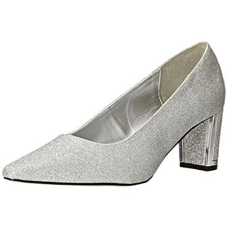 Easy Street Women's Stellar Dress Pump, Silver Glitter Easy Flex Dance Sole, 6 W (Best Street Dance Shoes)