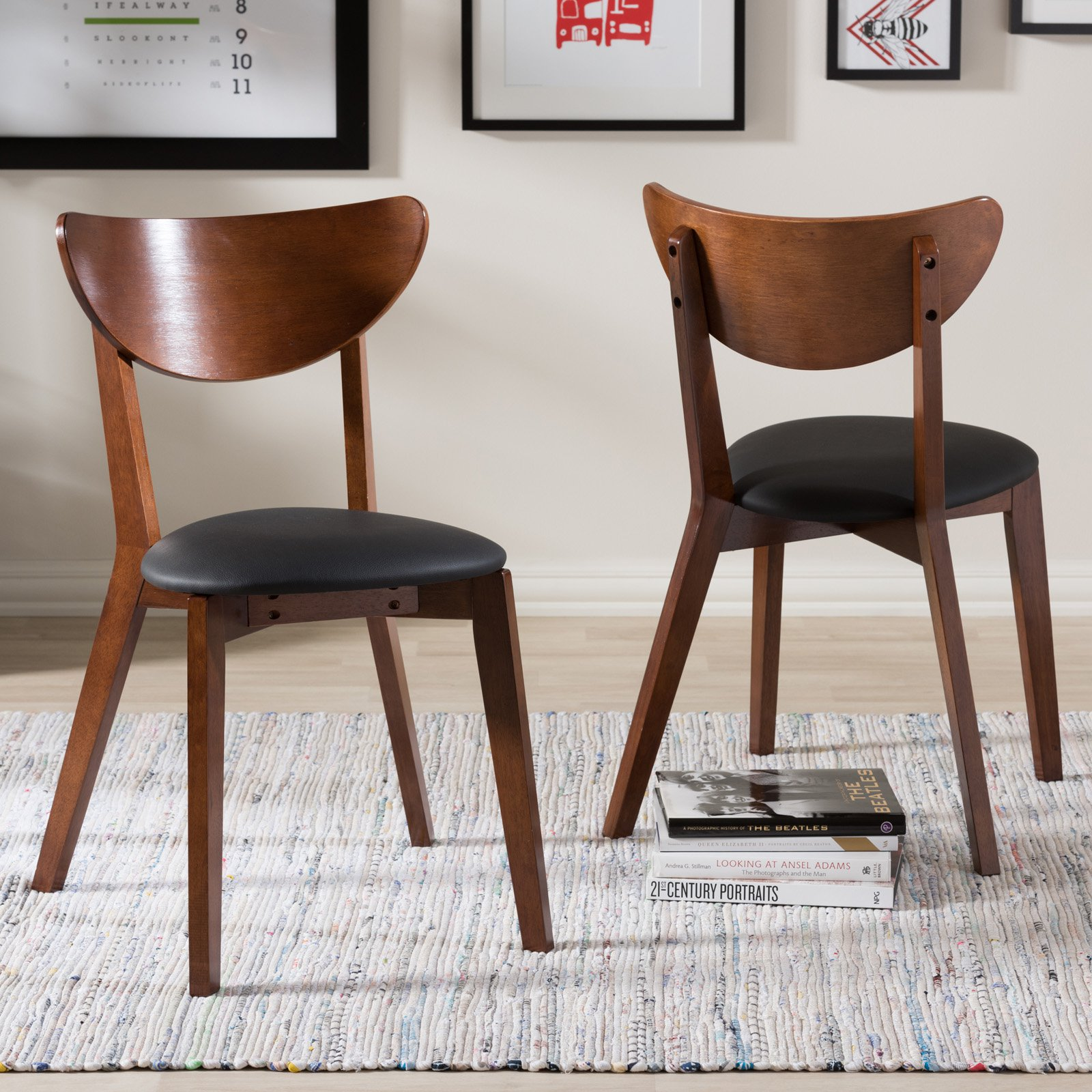 Baxton Studio Sumner Mid-Century Black Faux Leather and Walnut Brown Dining Chairs, Set of 2