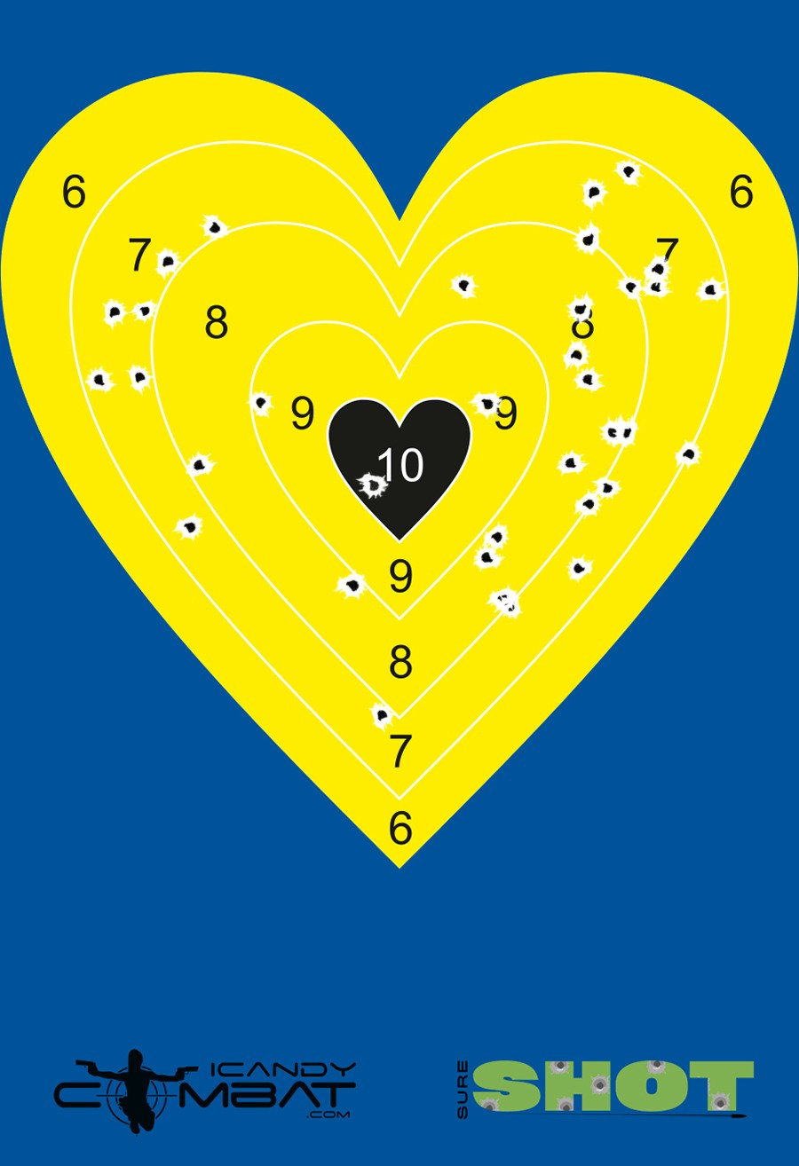 100 Pack Bright Yellow Heart Reactive Splatter Bullseye Target by iCandy Products Inc