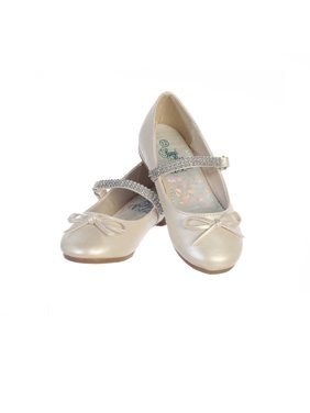 Girls Ivory PU Rhinestone Strap Summer Dress Shoes