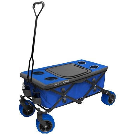 Creative Outdoor Distributors All-Terrain Folding Wagon Tabletop with Cooler Bag,
