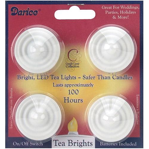 """Darice LED Tea Lights, 4/pkg, White, 7"""""""