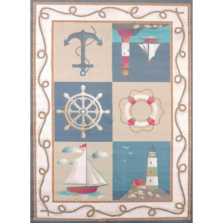 Colonial Blue Lighthouse Nautical Rug (United Weavers Seaside Lighthouse and Anchors Blue Woven Olefin Area)