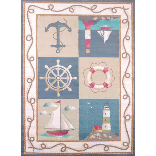 United Weavers Seaside Lighthouse and Anchors Blue Woven Olefin Area Rug