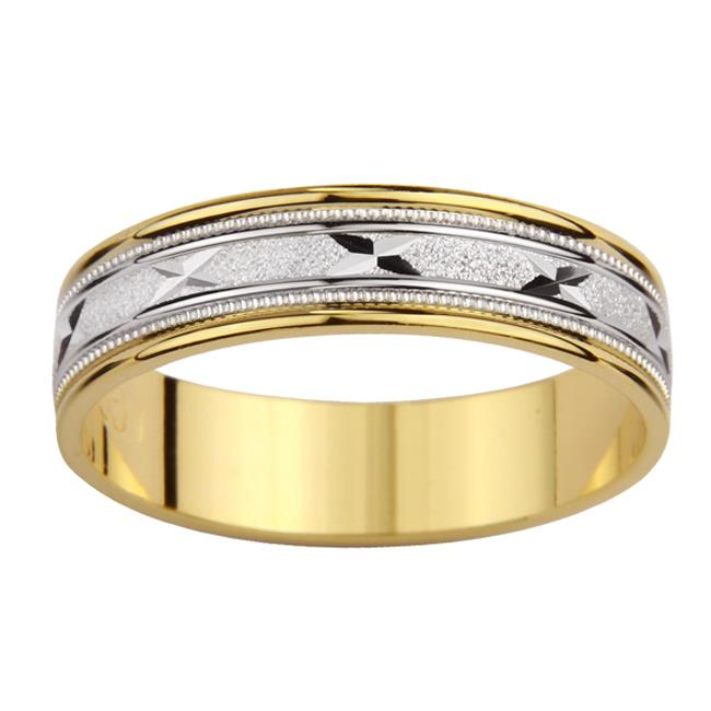 Precious Stars SEBF0001L5. 5 14k Two-tone Gold Ladies Milligrain X Design Easy Fit Wedding Band