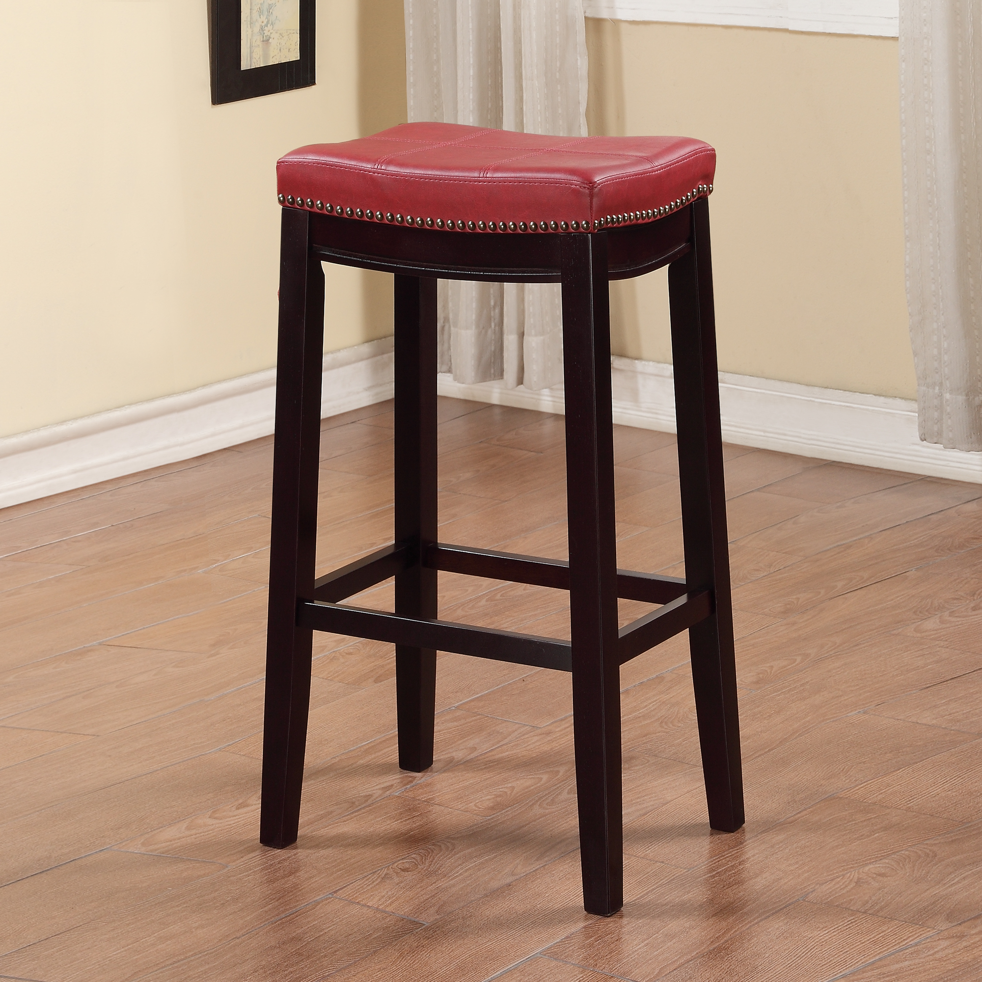 Linon Claridge Bar Stool Red 32 Inches Seat Height