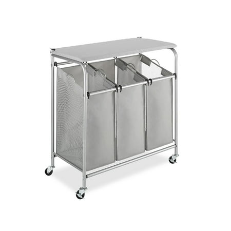 Whitmor 3 Section Rolling Laundry Sorter, Chrome