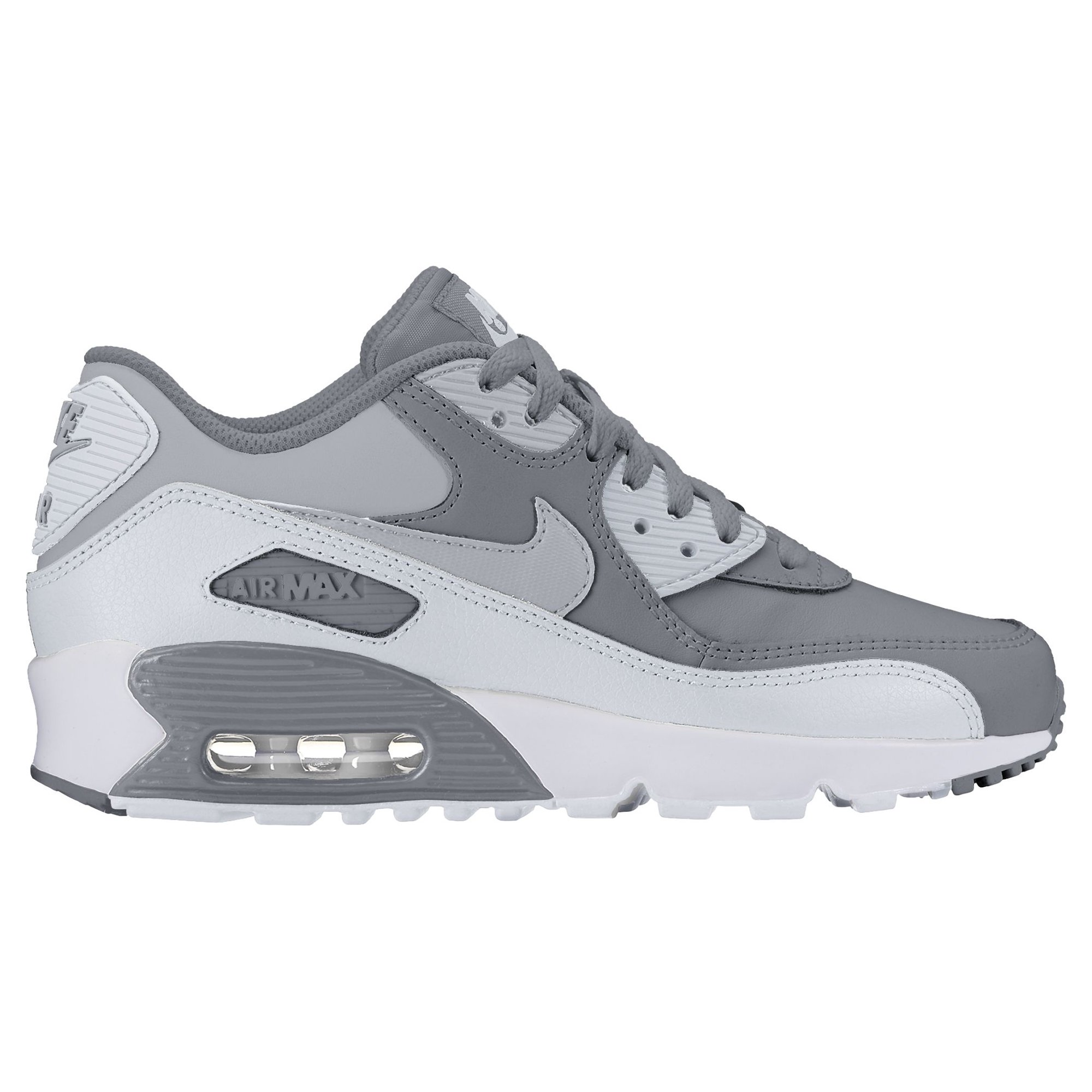 9983a198f1c8 Nike Boy s Air Max 90 Leather (GS) Shoe Cool Grey Wolf Grey-Pure Platinum- White 6Y