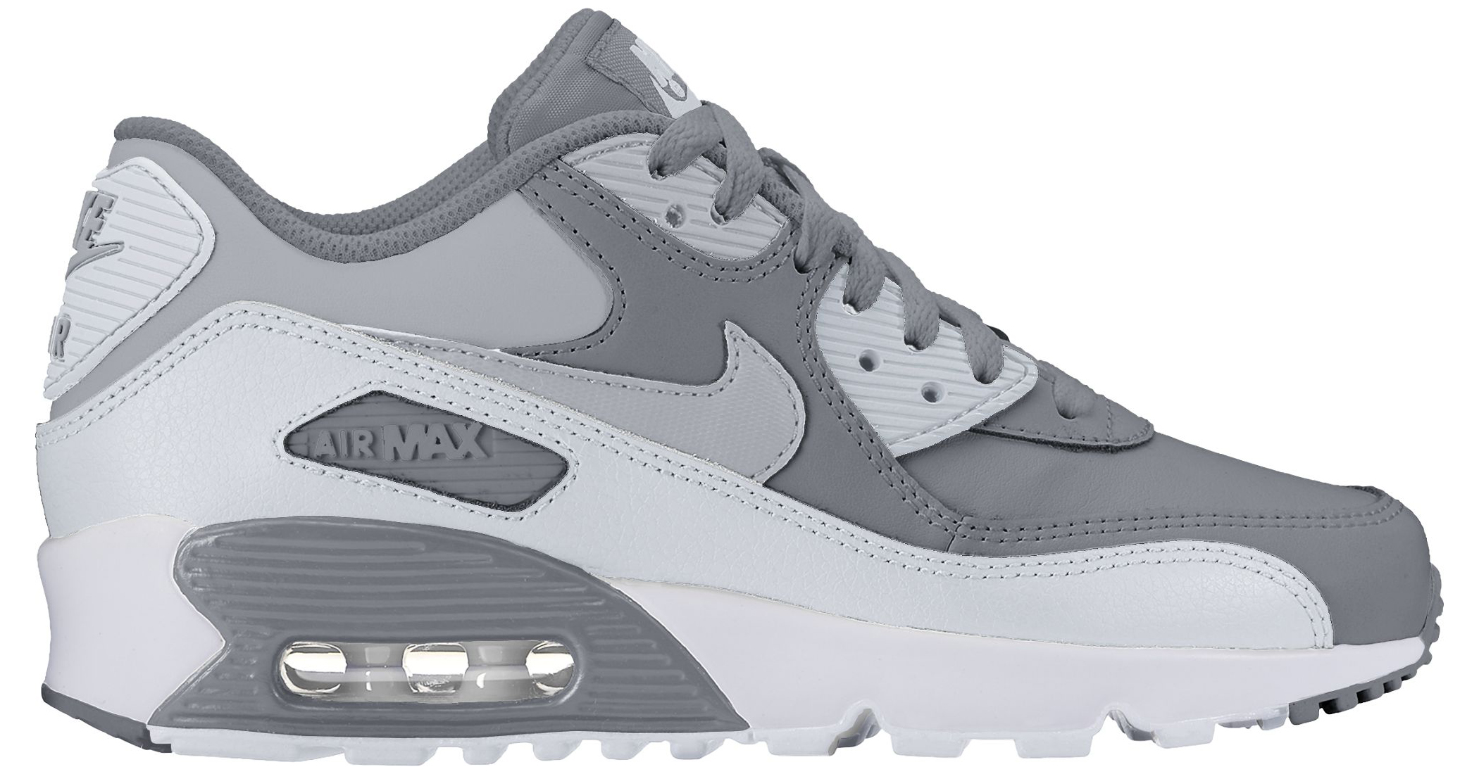 Nike Boy's Air Max 90 Leather (GS) Shoe Cool Grey/Wolf Grey-Pure Platinum-White...